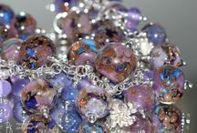 GLASS and SILVER BRACELET / Jewelry bracelet  Glass beads handmade by Viktorova Vera; Sterling Silver