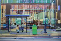 Doug Hatch: Urban landscapes / Doug Hatch is best known for his realistic paintings of urban scenes. Working in his studio from photographs, Hatch employs traditional methods of photorealism using strong diagonals, reflected surfaces, and transparent components to elucidate vibrant street scenes. Influenced by Edward Hopper and Richard Estes, Hatch is particularly interested in interpreting daily life. Vibrant, detail oriented and filled with movement, the paintings of Doug Hatch capture a place and time of day, perfectly. / by Tory Folliard Gallery