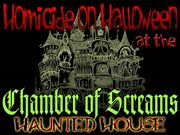 Homicide on Halloween at the Chamber of Screams Haunted House - Murder Mystery Party / An exciting Halloween Murder Mystery in a Haunted House setting for 8-16+ guests, ages 15+ (for challenge level).There are 4 expandable characters that can be played as teams - so this game can accommodate over 40+ guests! With the 5 character expansion pack, you can expand this game to over 75 guests! This game can be played as Co-Ed, all Female, or all male with one required female player.