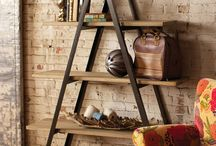 """Ladder Storage & Decor"" by Iron Accents / Ladders offer the perfect mix of style and function.  A creative option for people looking for space saving storage pieces - in addition to holding magazines, ladders are ideal for holding blankets in a living room, towels in a bathroom and jewelry and scarves in a bedroom. Other inventive uses include transforming them into lighting fixtures, laundry racks and plant stands. / by Iron Accents"