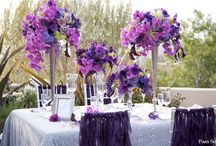 Tall purple centerpieces