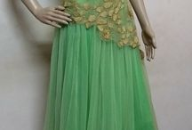 long frocks / light green and gold with embroidery