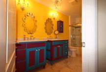 Whimsy in Syosset / Acknowledging the desire for independence that all teenagers seem to share, this bathroom was whimsically adorned with bright color and a slightly less serious attitude towards home decor.  Shared by two sisters this room accommodates them both effectively but leaves open the potential to rework the design if whimsy ever loses its appeal.