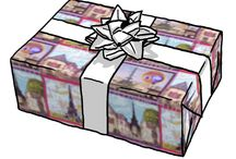 gift wrap / by artist / inventor Kristie Hubler fabricatedframes.com - WASHABLE FABRIC crafts