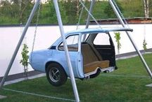 """Check out this backyard """"swing"""" made from half a car: / Check out this backyard """"swing"""" made from half a car:"""