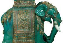 Elephant ceramic stools