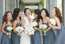 Bride & Bridesmaids   Bouquets   White & Grey