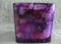 Square Glass Candle / Hand painted glass candles with soy wax.  Perfect for wedding table settings, wedding gift, bridesmaid gifts or any special occasion.