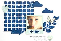 COLOR: BLUE ON SCRAPBOOK PAGES