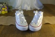Handmade Wedding Shoes / From flat shoes to high heels, any type of shoe can be customized and made truly beautiful using my trademark lace and pearl designs.