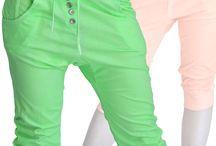 Pantaloncini donna pinocchietto fantasia tinta unita fluo