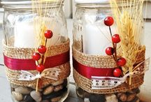 decorated candle jars