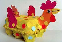 bricolage de poule avec des cartons