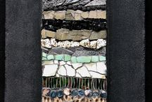mosaic, glass, stone, wood decor