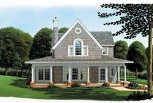 Shingle Style House Plans / Shingle style homes originated in New England in the 1880's and were designed as a variation on the Queen Anne style during the Victorian era. Most often associated with seaside settings, shingle style homes regularly include sprawling covered porches and an abundance of windows to ensure one's interaction with the Great Outdoors.  / by COOLhouseplans.com