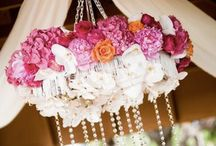 Hanging floral chandeliers
