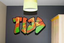 Graffiti muurschilderingen / Graffiti muurschilderingen in kinderkamers