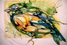 Birds - Птицы / акварельные скетчи