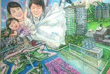 空撮ロケーション似顔絵ウェルカムボード / 背景の描写にこだわった全身似顔絵ウェルカムボード。ご希望の風景、建物をオリジナルの視点で絵画作品に仕上げます。 http://www.kyoto-jun1gaoe.com/