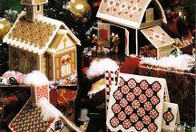 Hímzett karácsonyi házikó leírással sablonnal.4