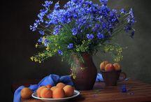 zátiší květiny a ovoce, nádhera..