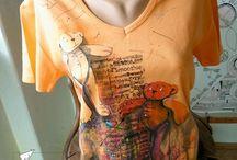 Trička, malování na textil