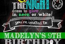 10th birthday party invitations / Cali's Glow birthday party ideas