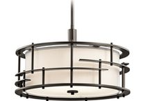 Kichler Lighting Tremba Olde Bronze Pendant Light with Drum Shade