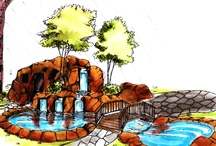 Hardscape Illustrations / 2D renderings done by hand of hardscape illustrations for StoneMakers Academy