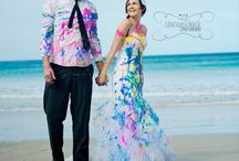 Trash the dress- bride and groom celebrate