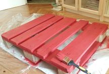 Red DIY coffee table