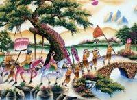 Gemstone painting Vietnam landscape / Gemstone painting Vietnam landscape, gemstone art, gemstone picture
