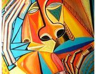 pintura africana / artista contemporaneo