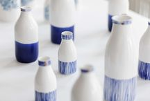 C O B A L T   B O T T L E S / Rebecca Killen Ceramics - Handmade bone china bottles decorated with hand painted cobalt, ceramic decals and hints of gold lustre