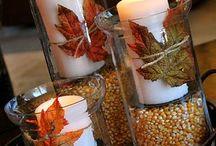 autumn decoration / autumn decoration, podzimní dekorace, svíčky, svícny, dekorace stolů