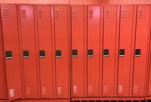 Chippewa Middle School - Okemo, MI #DeBourgh #Lockers / #Corregidoor #Tangerine #SentryThreeLatch #LouveredVentilation #PianoHinge #SlopeTop #ClosedBase #SpecialtyColor #DeBourgh #Lockers