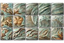 Seascapes for a Florida home installation / Handmade sgraffito carved tiles