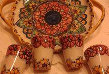 Servizio di limoncello per 4,in ceramica con vassoio in ceramica.