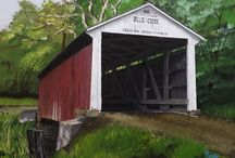 Covered Brduges of Indiana / There are about 90 covered bridges in the state of Indiana,. These are just a few of them that I chose to paint with little or no specific criteria except most are in the Parke County  and Rockville area.