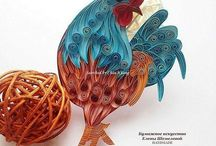 Pictures- Quilled Roosters, Hens, Chickens