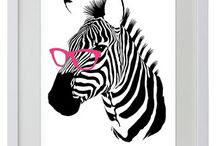 New White Wooden Framed Posters / Animals, PopArt, TV Inspired, Contemporary Art - White Wooden Framed Mini Posters