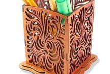 Карандашницы деревянные, лакированные