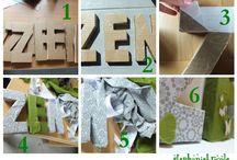 lettres en carton/tissu