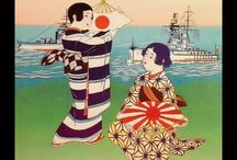 Movies on Japanese war art & war propaganda materials from 1900's - 1940's / vintage postcards and other paper materials