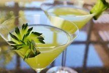 Green Cocktail with Cucumber Garnish