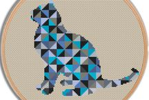 Geometric animals cross stitch