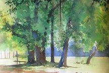 Watercolor trees by Bijay Biswaal #watercolor jd