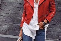 Look chaqueta cuero roja