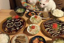 ネコと囲む食卓♡