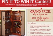 World Market's Pin It To Win It Contest / Enter to win the Clyde Trunk Bar is a fun contest that allows you to show your personal style by pinning wish list items that you would use with the Clyde Trunk Bar.